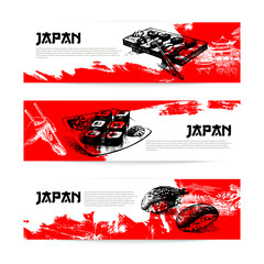 Set of Japanese sushi banners. Sketch illustrations