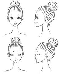 女性 顔 線画