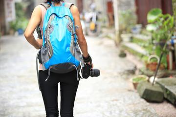 young woman tourist in yangshuo,guilin,china