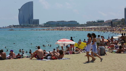 Barceloneta Beach and Hotel Vela in summer. Barcelona