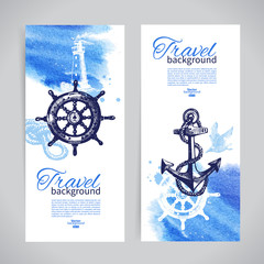 Set of travel banners. Sea nautical design. Hand drawn sketch