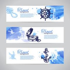 Set of travel banners. Sea nautical design. Hand drawn sketch