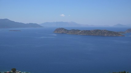 Zoom in boat on the Turkish coast, Marmaris. 4k