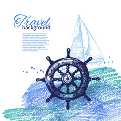 Travel vintage background. Sea nautical design.