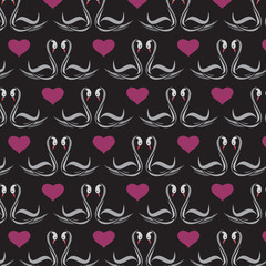 Seamless wallpaper swans and heart. Vector illustration