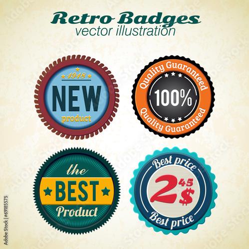 Fotobehang Pop Art retro badges