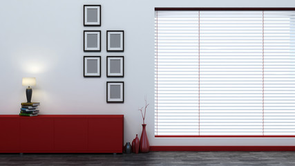 red empty interior with blinds