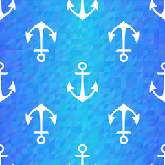 Seamless blue triangle pattern with white anchors