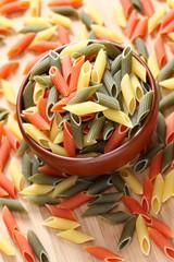 Penne rigate pasta in a bowl