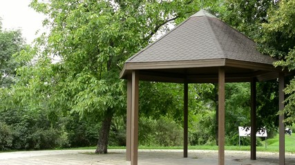 outdoor gazebo in the park - green trees