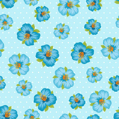 Seamless floral pattern with pretty stylized flowers.