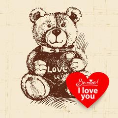 Valentine's Day vintage background. Hand drawn illustration