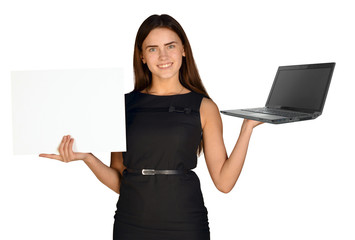 Businesswoman hold white paper and laptop