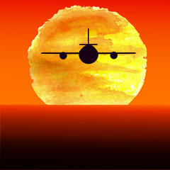Silhouette of an airplane flying at watercolor