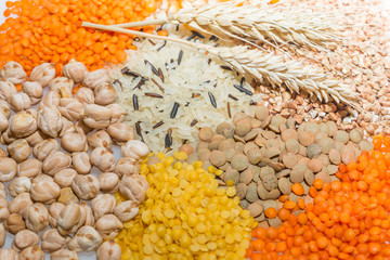 Assorted grains  with wheat ears. Selective focus.