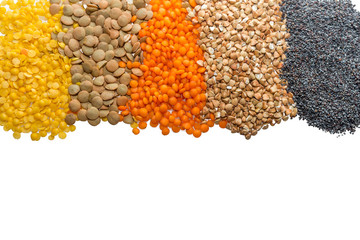 Cereal grains border closeup on white background