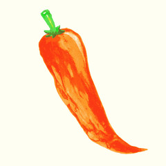 Watercolor chili pepper illustration.