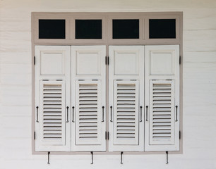 White wooden window of vintage house