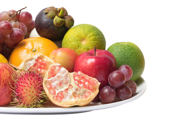Isolated mixed  fruits and clipping path
