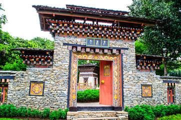 A traditional gateway to a Bhutan enclosure