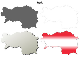 Styria blank detailed outline map set