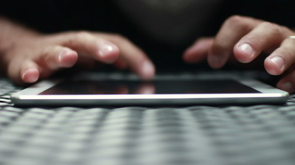 Close Up Hand Typing On Tablet Computer Screen HD