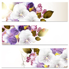 Business cards set in floral style with flowers
