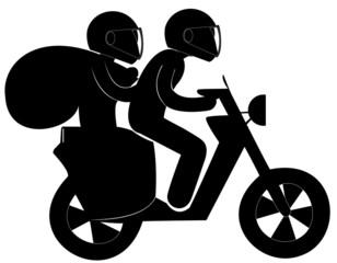 cambrioleurs casqués sur un scooter