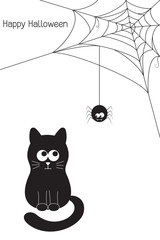 Halloween card with funny black cat, vampire spider and web