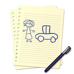 Dessin au stylo : Voiture familiale B