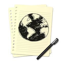 Dessin au stylo : planète N
