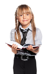 Little girl with notepad