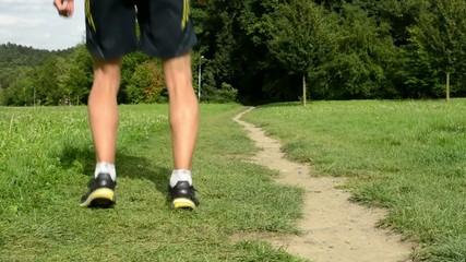 man sports - running - man warming up before jogging