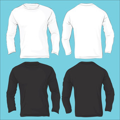 Men's Long Sleeved T-Shirt Template, Black White