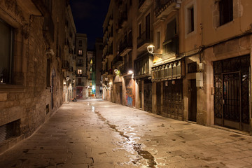 Barri Gotic at Night in Barcelona