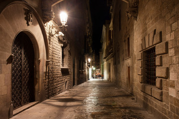 Street in Gothic Quarter of Barcelona at Night