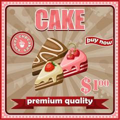 Vintage cake poster. vector illustration