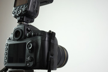 DSLR camera with external flash