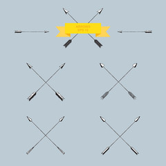 Set of crossed arrows, vector illustration, hand drawn doodles