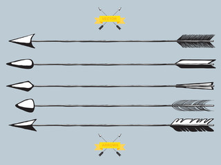 Set of arrows, vector illustration, hand drawn doodles
