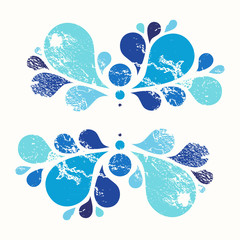 Blue floral vector element, tear drop, grunge design