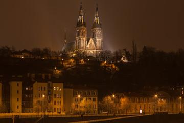 Night romantic Prague gothic castle, Czech republic