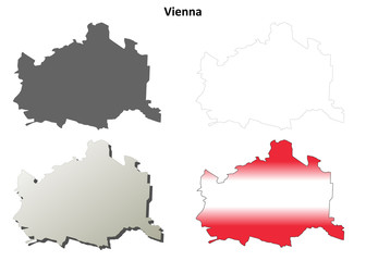 Vienna blank detailed outline map set