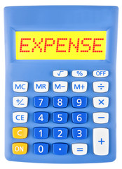 Calculator with EXPENSE on display on white background