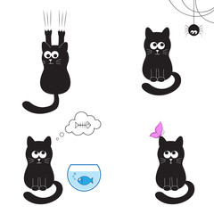Cute and funny black cat collection