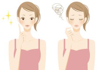 美容 ひらめき悩む女性