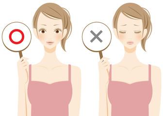 美容 YESとNOを表示する女性