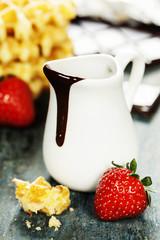 Belgium waffles with chocolate sauce
