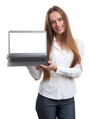 Businesswoman presenting somenhing on her laptop