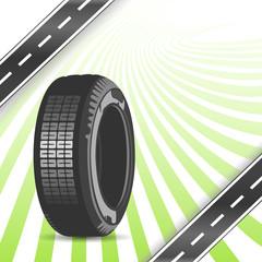 Black rubber tire